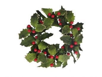 Velvet Holly & Berry Candle Ring Large