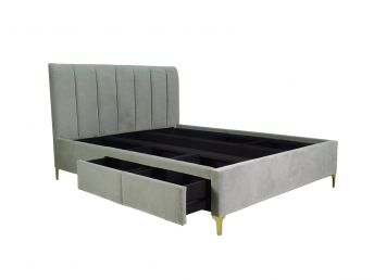Andrea Queen Bed, Otter Grey Woven Fabric