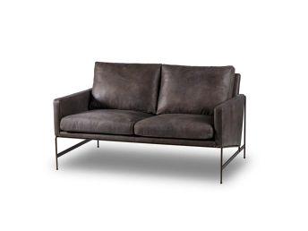 Vanessa 2 Seater Sofa, Black Leather
