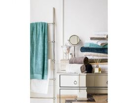 Bamboo Hand Towel With Classic Border, Stone