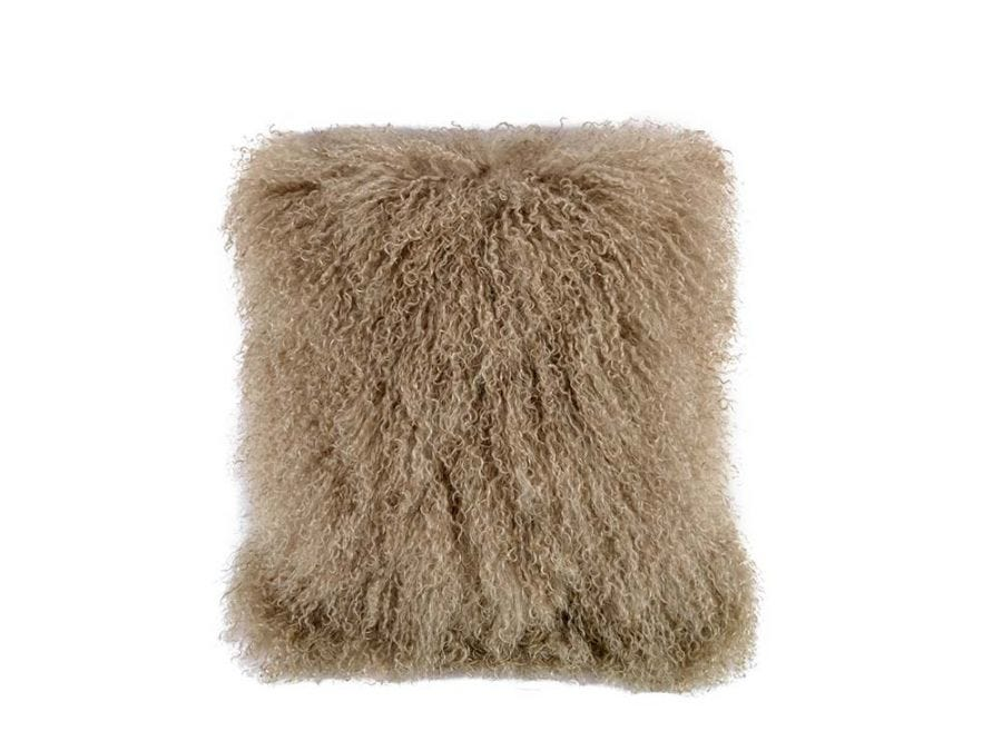 Tibet Lamb Fur Cushion, Camel