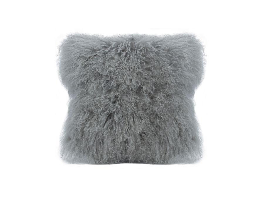Tibet Lamb Fur Cushion, Light Grey