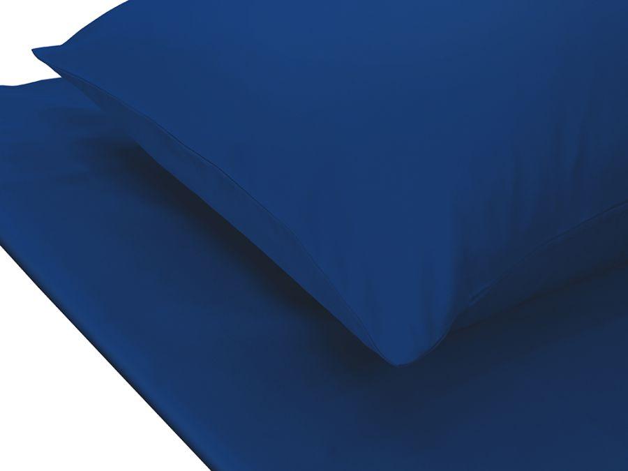 Plain Blue 3pcs Double Bed Set