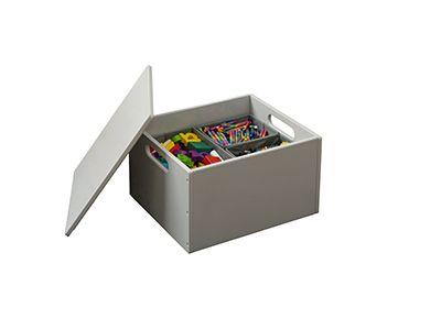 Storage Box With Lid, Pale Grey