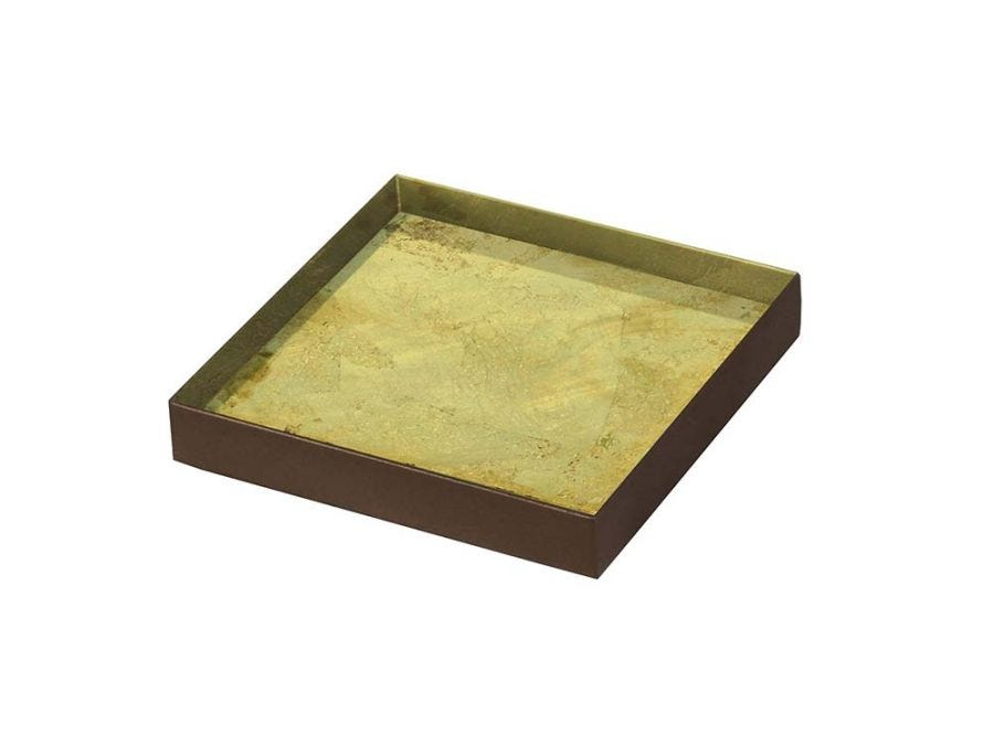 Gold Leaf Glass Tray, Small