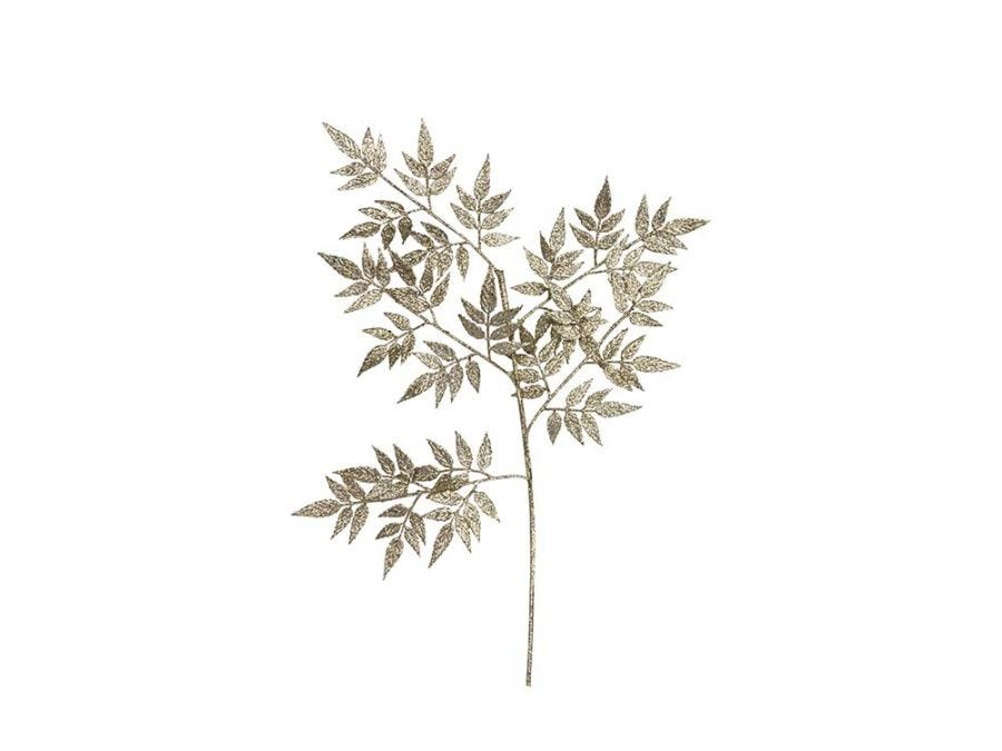 Pale Gold Glitter Leaf Spray