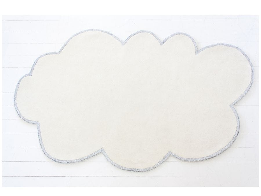 Cloud White Rug w/Silver Trim