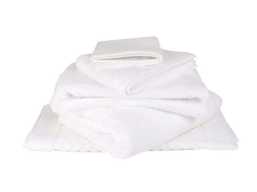 Bamboo Hand Towel With Classic Border, White