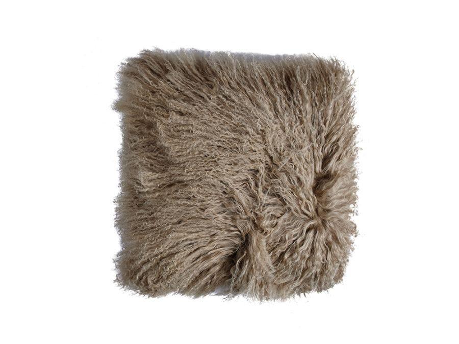 Tibet Lamb Fur Cushion Cover Taupe