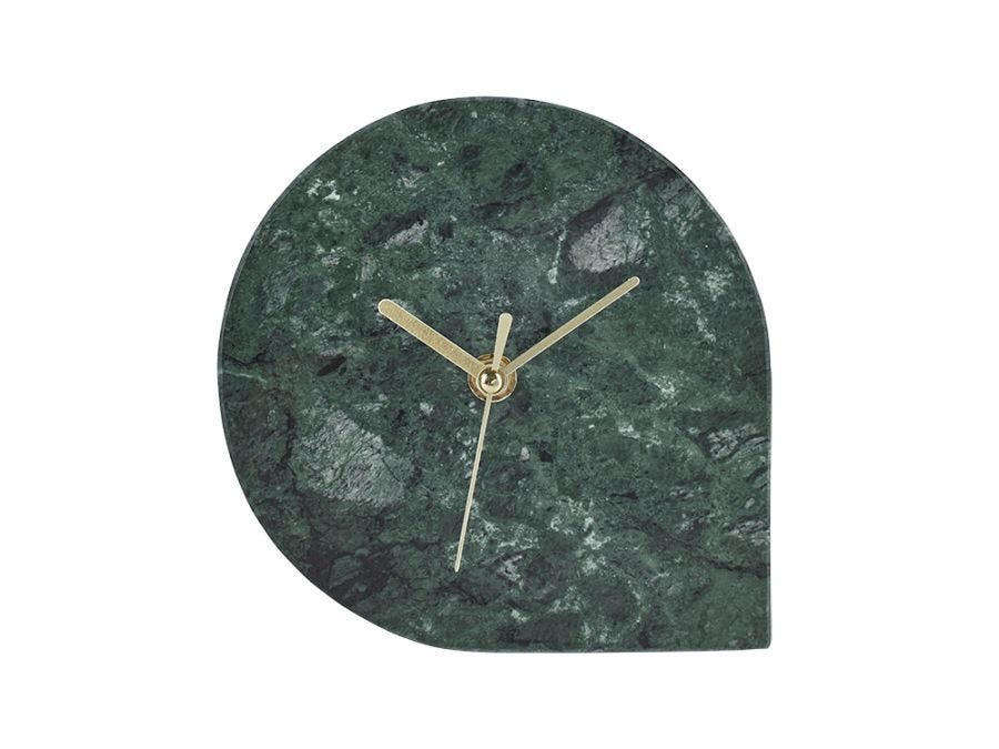 Table Clock, Green Marble
