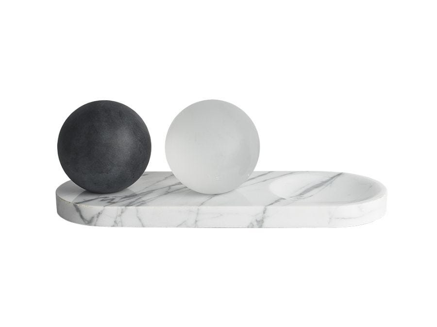 Crystal Balls on Marble Tray