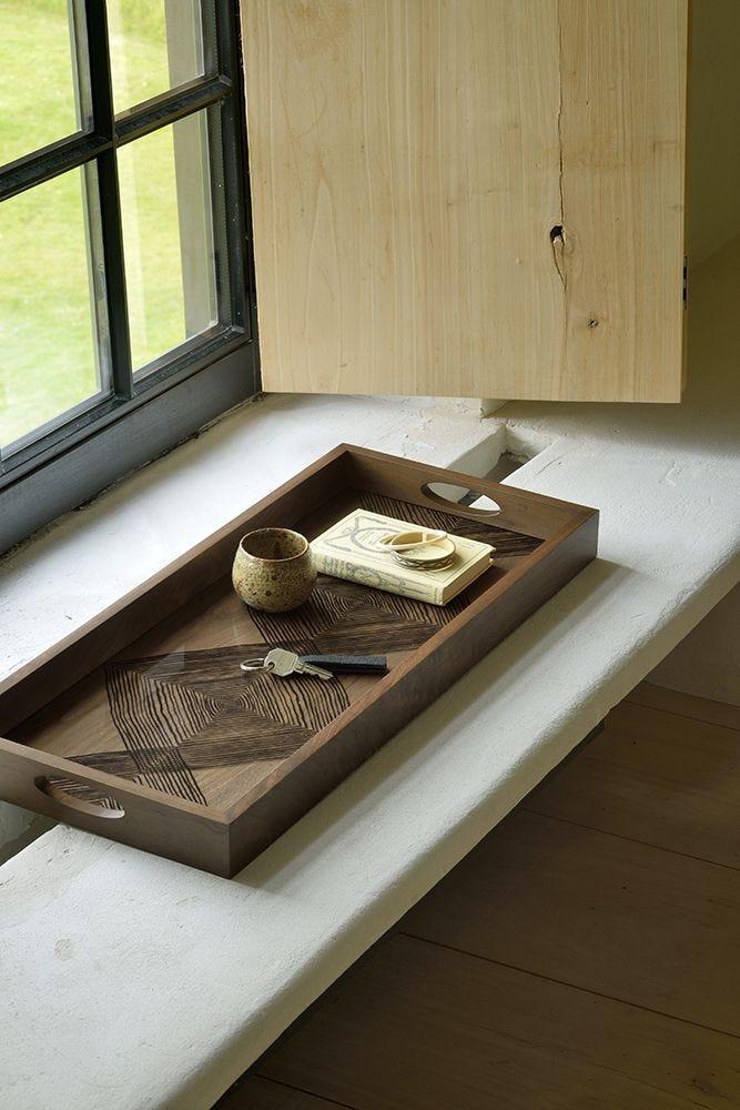 Walnut Linear Square Glass Tray Rectangle