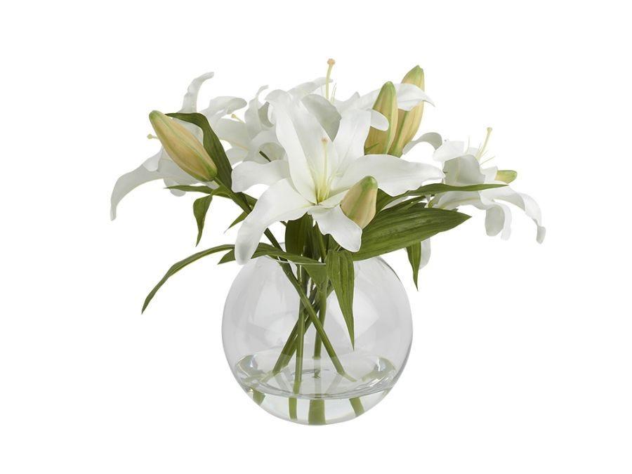 White Lily in Bowl Vase