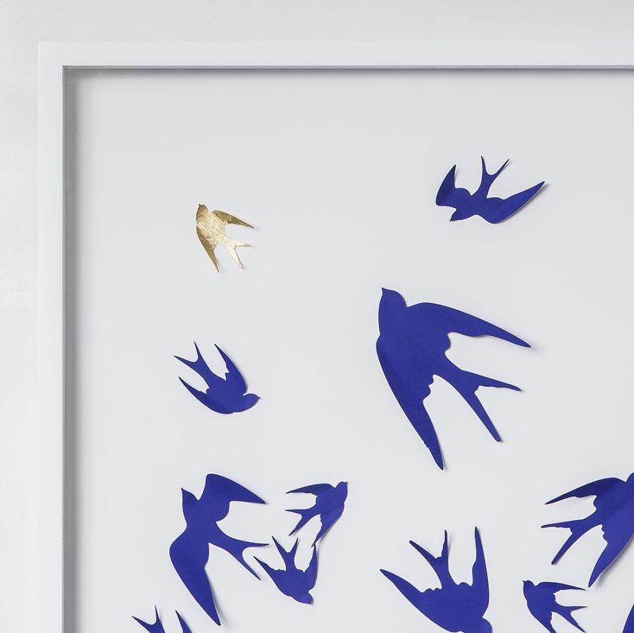 Gold Leaf Swallows,Paper Cut Art