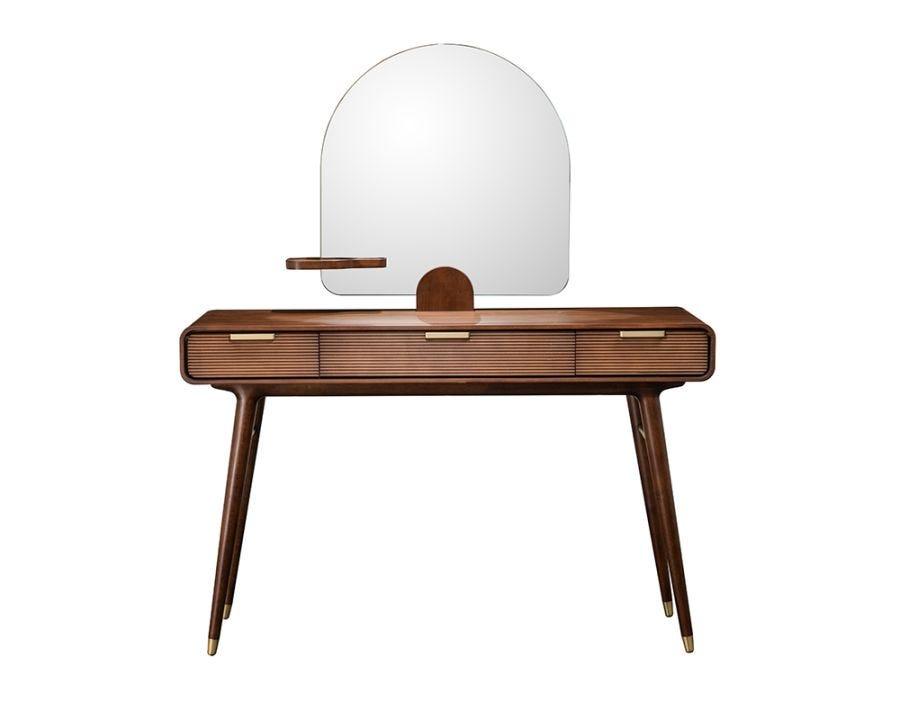 Dean Vanity Desk With Mirror, Brown
