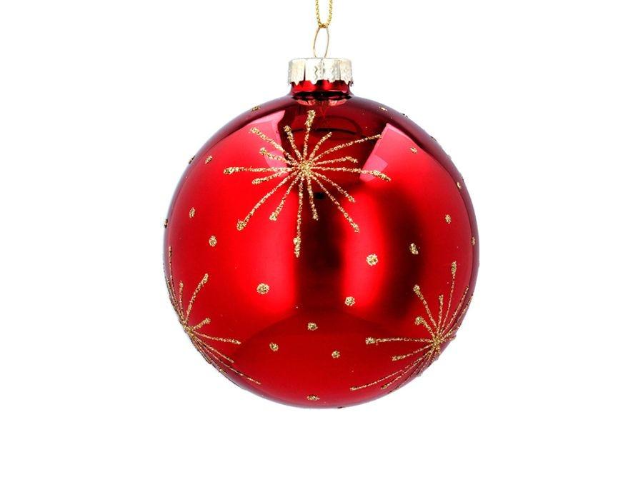 Glitter Starburst Red Bauble