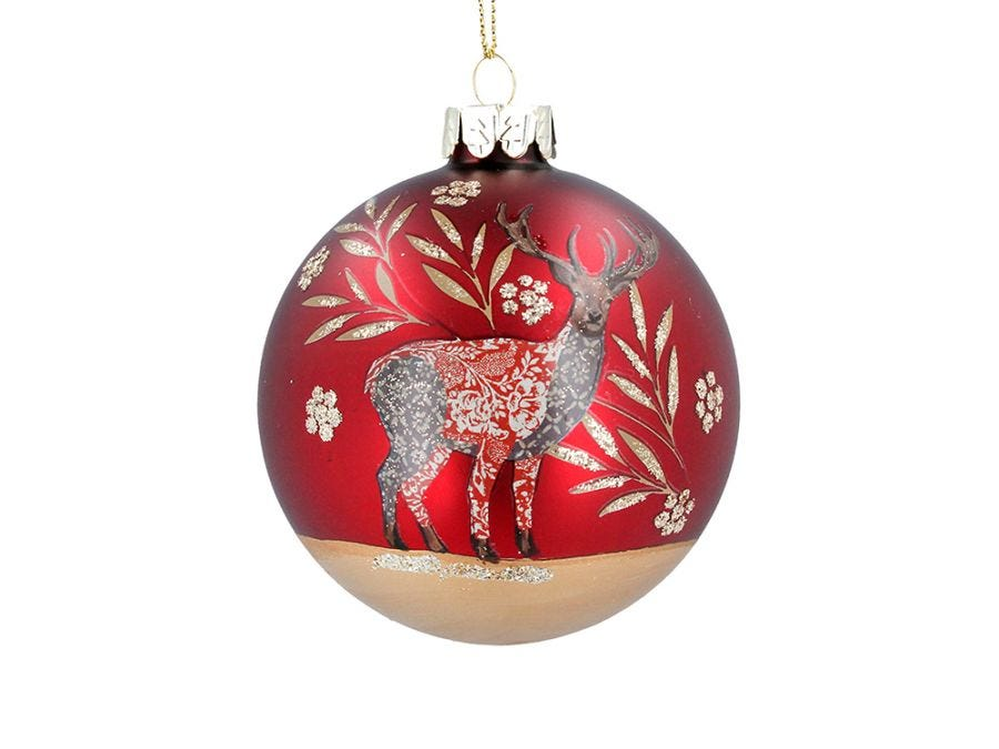 Xmas Stag Red Bauble