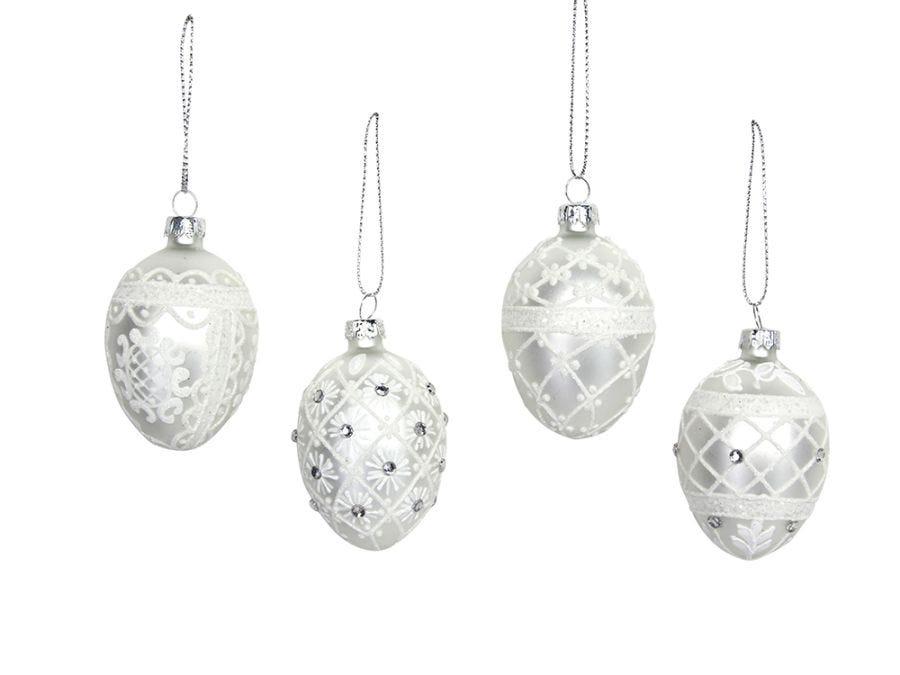 Silver Glass White Mini Egg Assorted