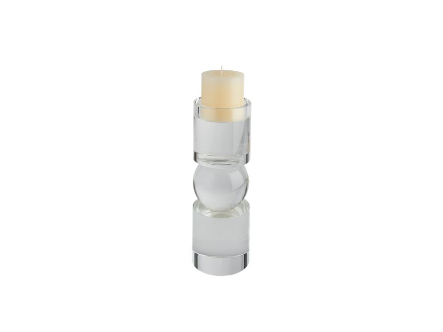 Cyllano Crystal Candle Holder, Clear, Low
