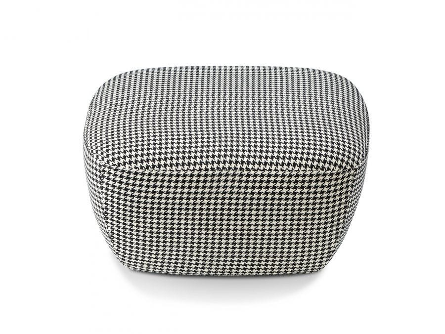 Houndstooth Upholstered Stool