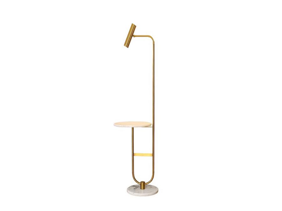 Mia Floor lamp with side table, white marble