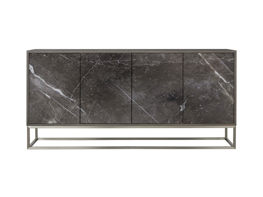 Printed Credenza - Storm Grey Marble / Rectangle Base
