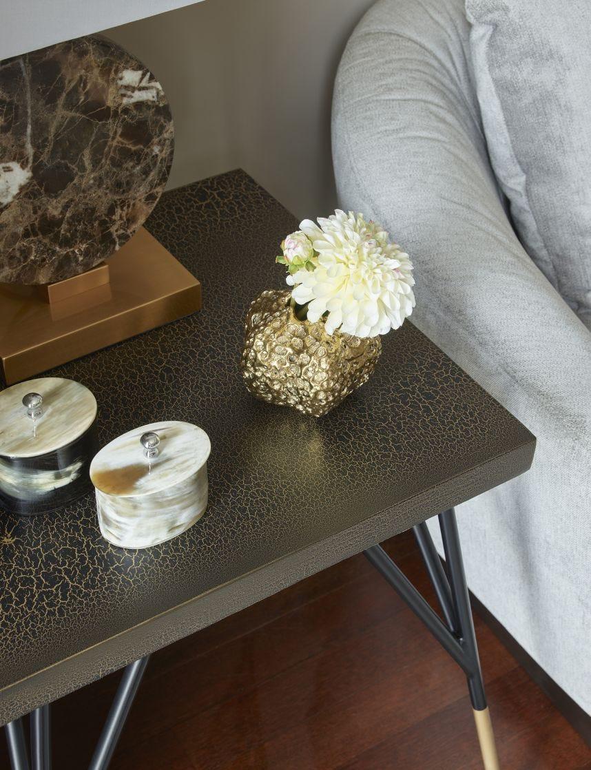 Gold Eroded Low Vase