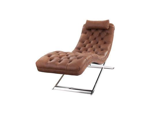 Deco Dark Brown Leather Chaise
