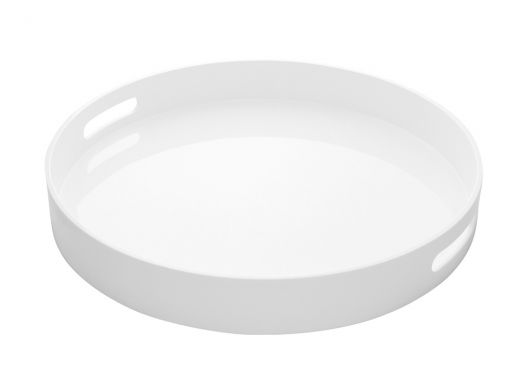 White Round Lacquer Tray