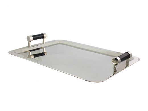 Tray with Black Glass Handles, Large