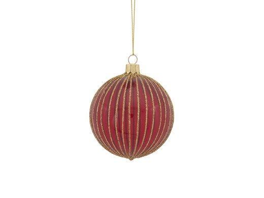 Red Glass Glitter Stripe Ball