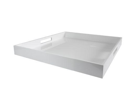 Square Lacquer Tray White, Medium