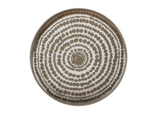 Gold Beads Glass Tray Round, Large
