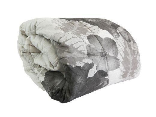Floral Black Linen Bed Spread
