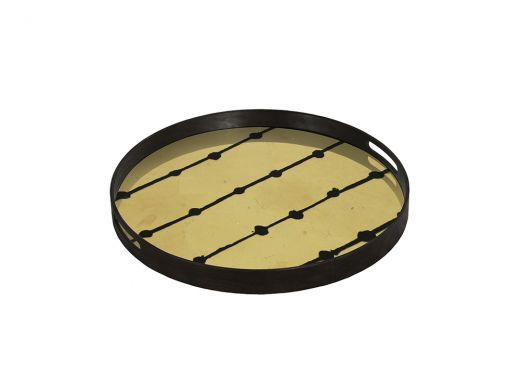 Brown Dots Glass Tray Small