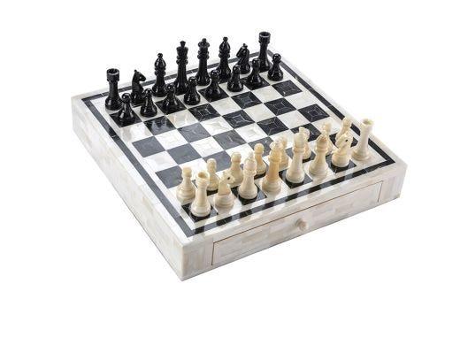 Bone Chess Set with Drawers