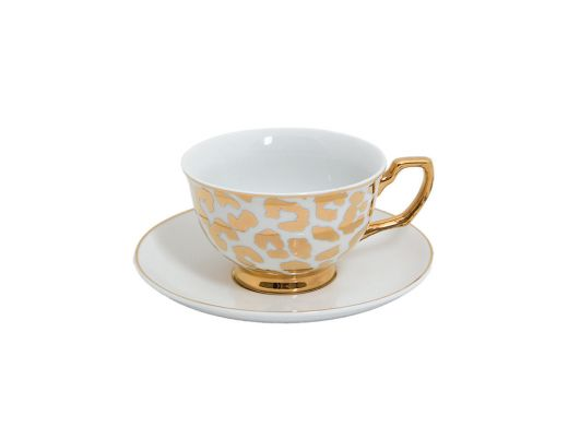 Gold Leopard Cup and Saucer