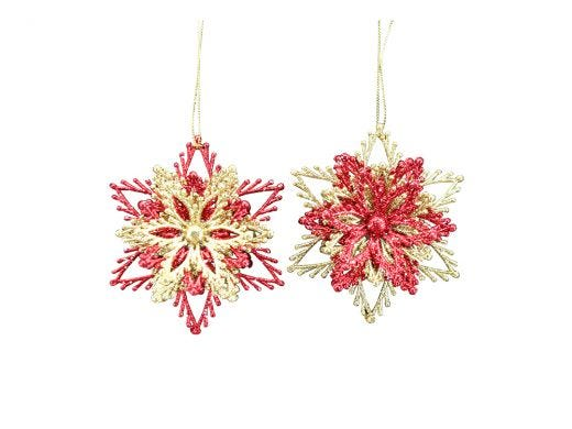 Red & Gold Glittered Snowflake