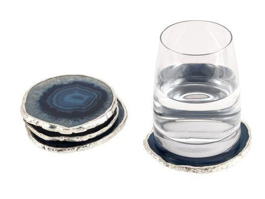 Agate Coaster Blue & Silver