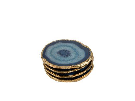 Agate Coaster Blue & Gold