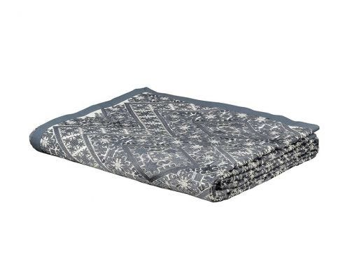 Embroidered Bed Throw - Grey