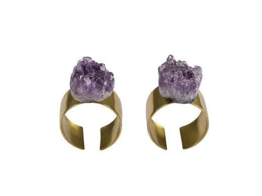 Amethyst Napkin Ring Set of 2
