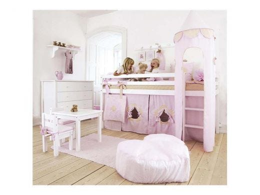 High Bed with Pink Curtain and Tower Package