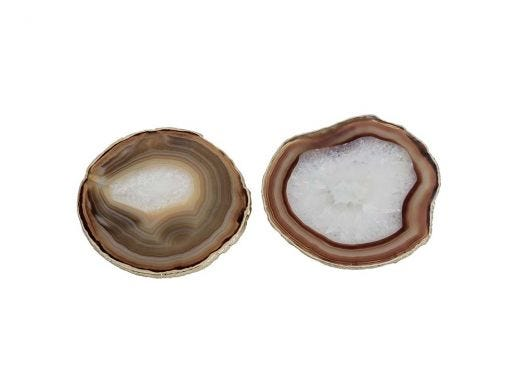 Agate Coasters - Natural & Gold