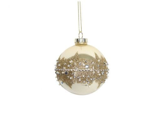 Cream Glass Ball Glitter Band