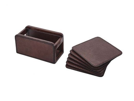 Brown Leather Coaster Set of 6
