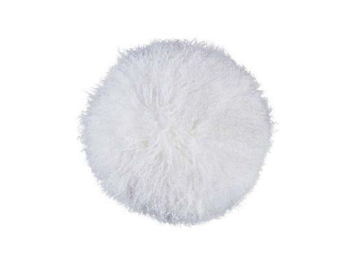 Tibet Lamb Fur Rd Cushion WHI