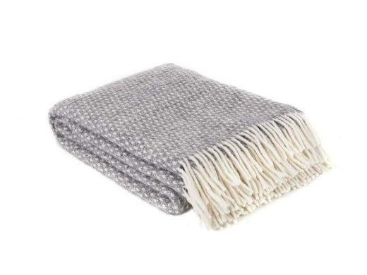 Knut Lambs Wool Throw Grey