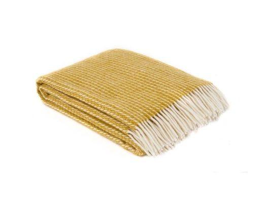Line Lambs Wool Throw Yellow