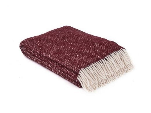 Hekla Lambs Wool Throw Red